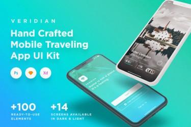 住宿app设计模板-Veridian iOS UI Kit