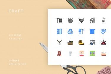 4种风格50个图形的工艺图标