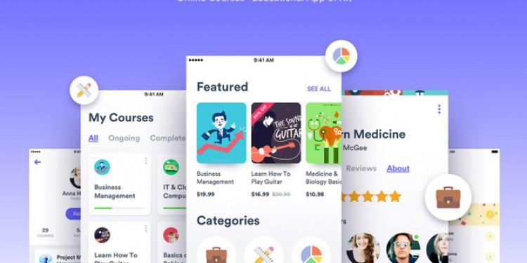 在线课程教育app界面设计模板(sketch)