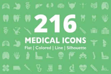 非常齐全的一套医疗用图标(216个)