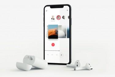 音乐app专用的iPhone X 和AirPods 样机