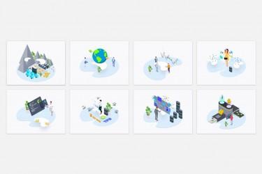 8个区块链概念的等距插图(带人物)