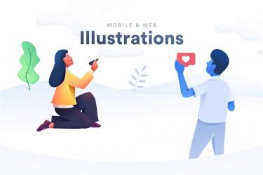 18个设计优美的app和网站用的插画设计素材打包