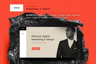 现代简约设计的网页UI Kit