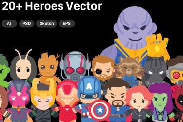 漫威英雄人物卡通插画素材套件