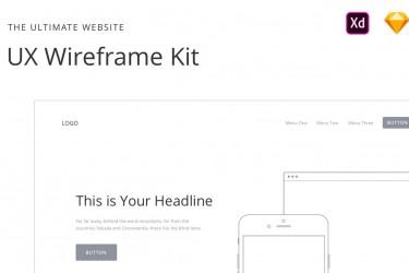超齐全的一套网站UX设计线框图套件