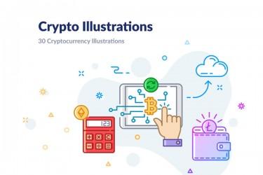 30个数字加密货币相关的插图素材