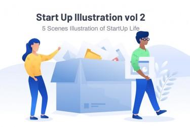 5个欢迎引导页的插画素材(2)
