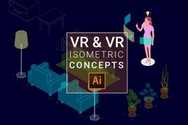 8个VR AR概念的等距插画素材