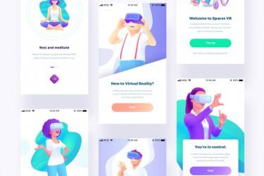 6个美丽的虚拟现实VR插画素材
