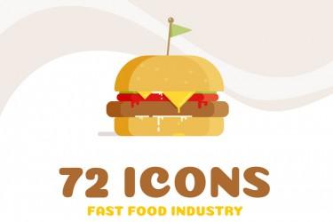 72个快餐相关的图标、标志、徽标模板