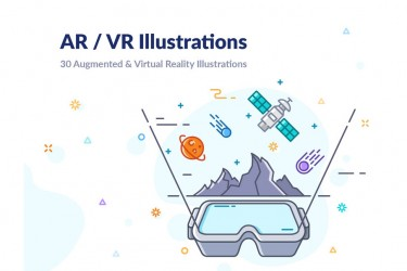 30个AR/VR场景相关的插画素材