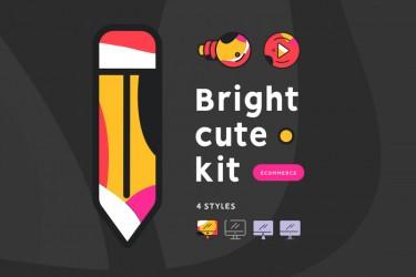 设计独特配色可爱的21个电商图标素材