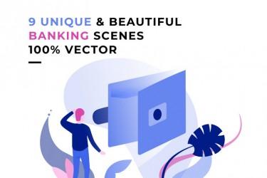 9个银行相关的插画素材