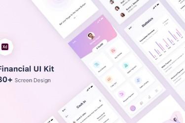 粉紫色系的财务app界面设计模板