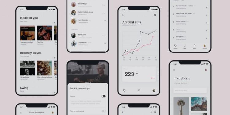 粉色极简时尚的多用途app界面设计UI kit