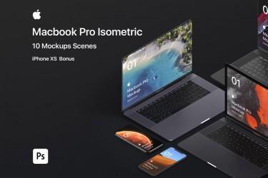 psd格式Macbook Pro和iPhone XS等距视图样机