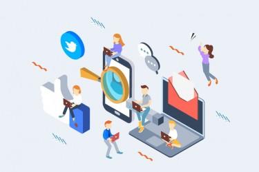 8个社交媒体概念等距插画素材