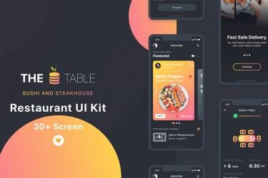 深色主题的寿司牛排外卖app界面设计模板