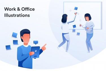工作及办公室场景的插画素材