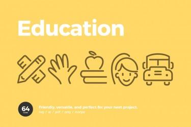 可爱俏皮的64个教育相关图标素材