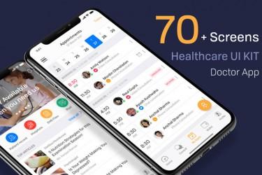 医疗保健app界面设计素材模板