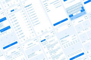 UI/UX原型设计的iOS线框图素材