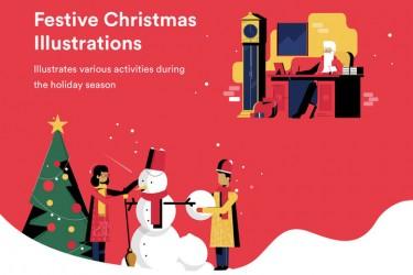 温暖喜庆的圣诞节插画素材