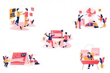 5个商业社交的网页插画素材