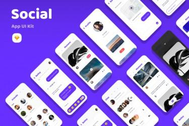 圆润可爱风格的社交app ui kit套件模板