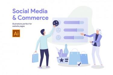 10个社交媒体和商业相关的插画素材