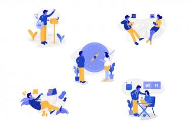 以沟通为主题的插画素材