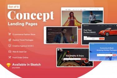 5个概念设计着陆页设计模板