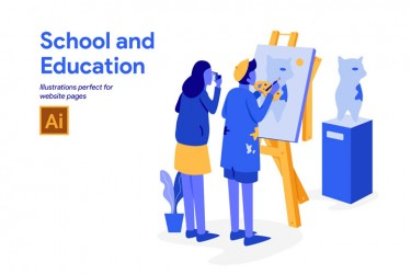 关于学校和教育的插画素材