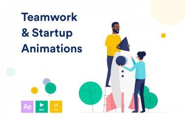 团队合作沟通的动画插画素材