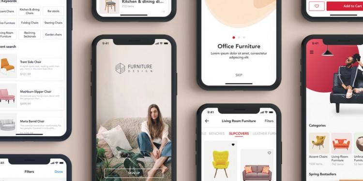 超有设计感的家具电商app ui kit