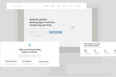 漂亮的网站着陆页线框图素材