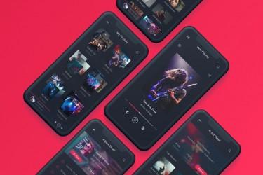 深色背景音乐和播客app界面设计模板