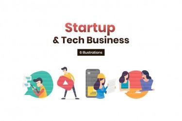 商业技术主题的启动页插画素材