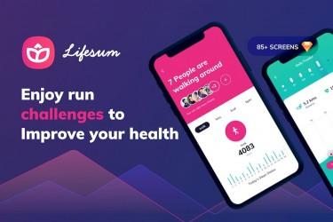 多用途健身应用程序app UI设计模板