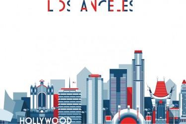 美国洛杉矶建筑主题ai插画素材