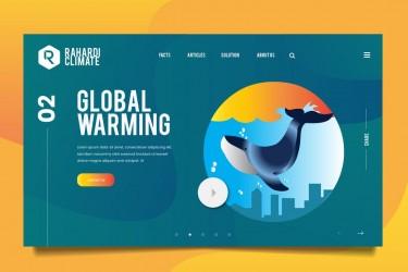全球变暖网页蓝鲸插图设计素材