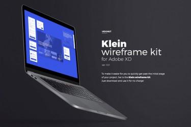 蓝色背景网页线框图设计模板