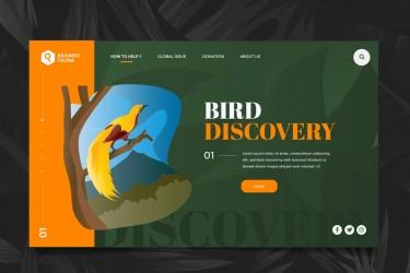 自然野生动物网页标题插画素材