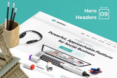 时尚极简风格的Hero Headers设计模板