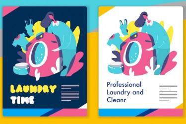 洗衣服和洗衣机相关的矢量插画