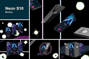 霓虹灯效果的三星S10样机素材