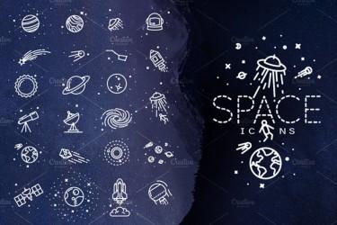 太空主题的矢量图标素材