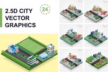 新颖的2.5D矢量城市插画素材