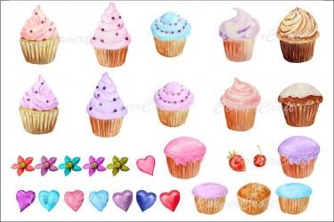 30个小清新蛋糕的水彩插画